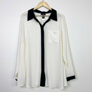 Lane Bryant NWT Sz 22/24 Sheer Tuxedo Button Up